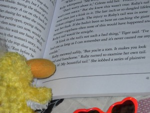 @GeorgeTheDuck can't pull himself away from the book!