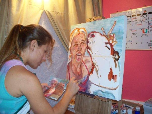 Grace Warrington working on our portrait