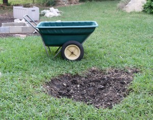 A shallow hole with wheelbarrow